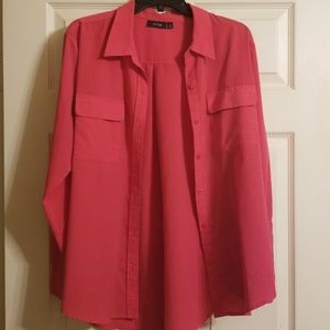 Coral button down blouse. Size XL